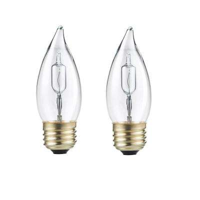 40-Watt Equivalent BA11 Halogen Bent Tip Candle Light Bulb (2-Pack)