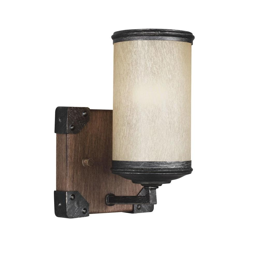 Sea Gull Lighting Dunning 5 in. W. 1-Light Weathered Gray and Distressed Oak Wall Sconce