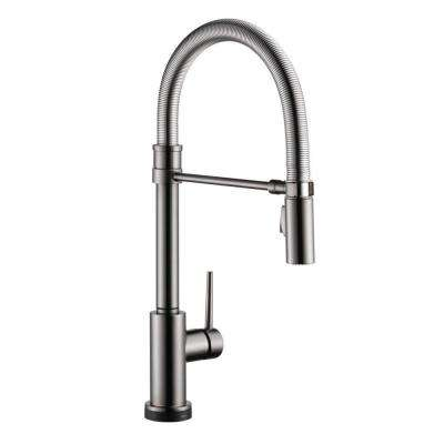 Trinsic Pro Single-Handle Pull-Down Sprayer Kitchen Faucet with Touch2O Technology and Spring Spout in Black Stainless