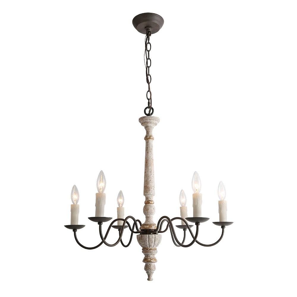 Lnc 6 light persian white french country wood chandelier