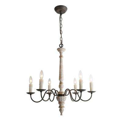 6-Light Persian White French Country Wood Chandelier