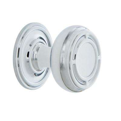 Mission 1-3/8 in. Bright Chrome Brass Cabinet Knob with Classic Rose