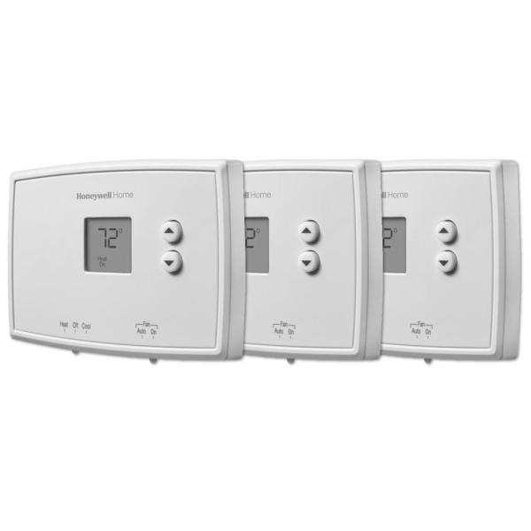 Horizontal Non-Programmable Thermostat with Digital Backlit Display (3-Pack)