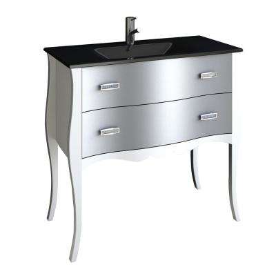Aranjuez 32 in. W x 19 in. D x 34 in. H Vanity in White with Glass Top in White with White Basin