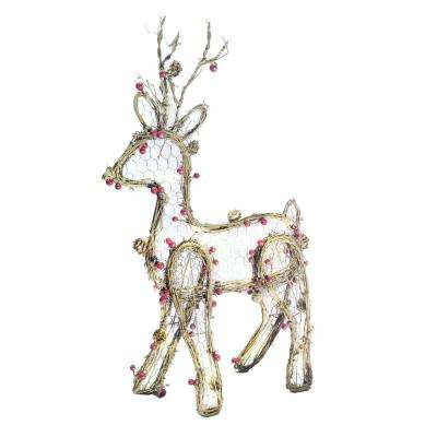 h christmas rattan light up reindeer decor - Indoor Christmas Reindeer Decorations