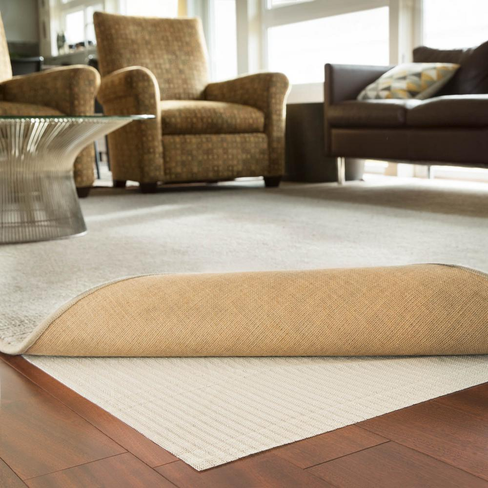 2 ft. x 4 ft. Rubberized Non-Slip Area Rug Pad Gripper in White