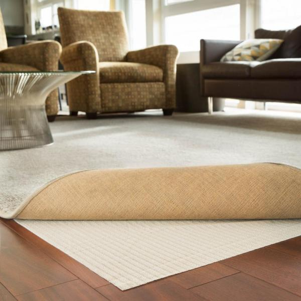 4 ft. x 6 ft. Rubberized Non-Slip Area Rug Pad Gripper in White