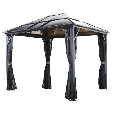 10 ft. D x 10 ft. W Meridien Aluminum Gazebo with UV-Protected Roof Panels and Nylon Mosquito Netting