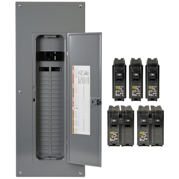 Homeline 200 Amp 40-Space 80-Circuit Indoor Main Breaker Qwik-Grip Plug-On Neutral Load Center with Cover - Value Pack