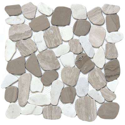 Cultura Winter Honed and Tumbled 11.81 in. x 11.81 in. x 8 mm Pebbles Mesh-Mounted Mosaic Tile (1 sq. ft.)