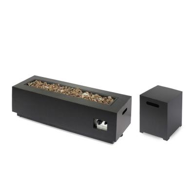 Wellington 15.25 in. x 19.75 in. Rectangular Concrete Propane Fire Pit in Brushed Brown with Tank Holder