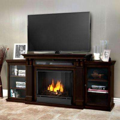 Calie Entertainment 67 in. Media Console Ventless Gel Fuel Fireplace in Dark Walnut