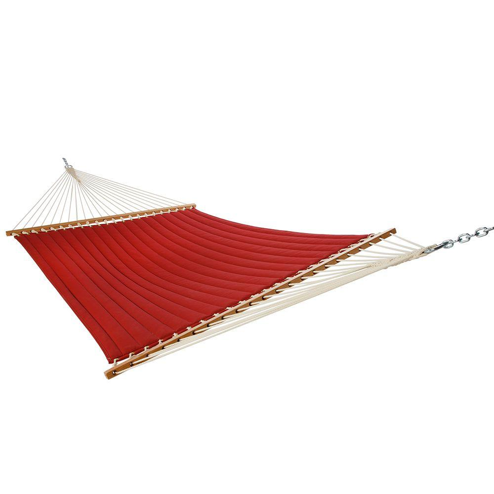 null 13 ft. Olefin Quilted Hammock in Red