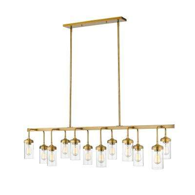 Lopia 12-Light Foundry Brass Pendant with Clear Glass Shade