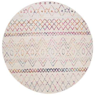 Madison Ivory/Fuchsia 6 ft. 7 in. x 6 ft. 7 in. Round Area Rug