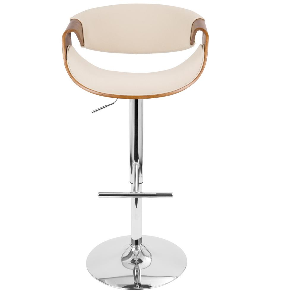 Curvo Walnut and Cream Adjustable Barstool