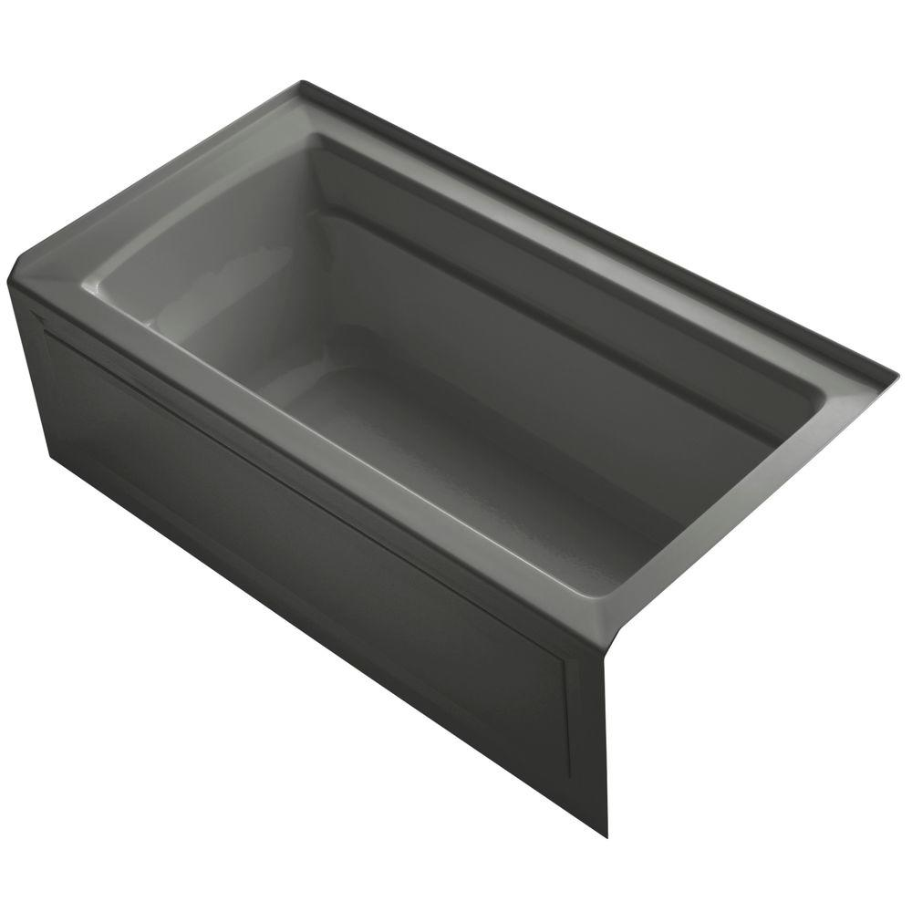 Archer 5 ft. Right Drain Soaking Tub in Thunder Grey with