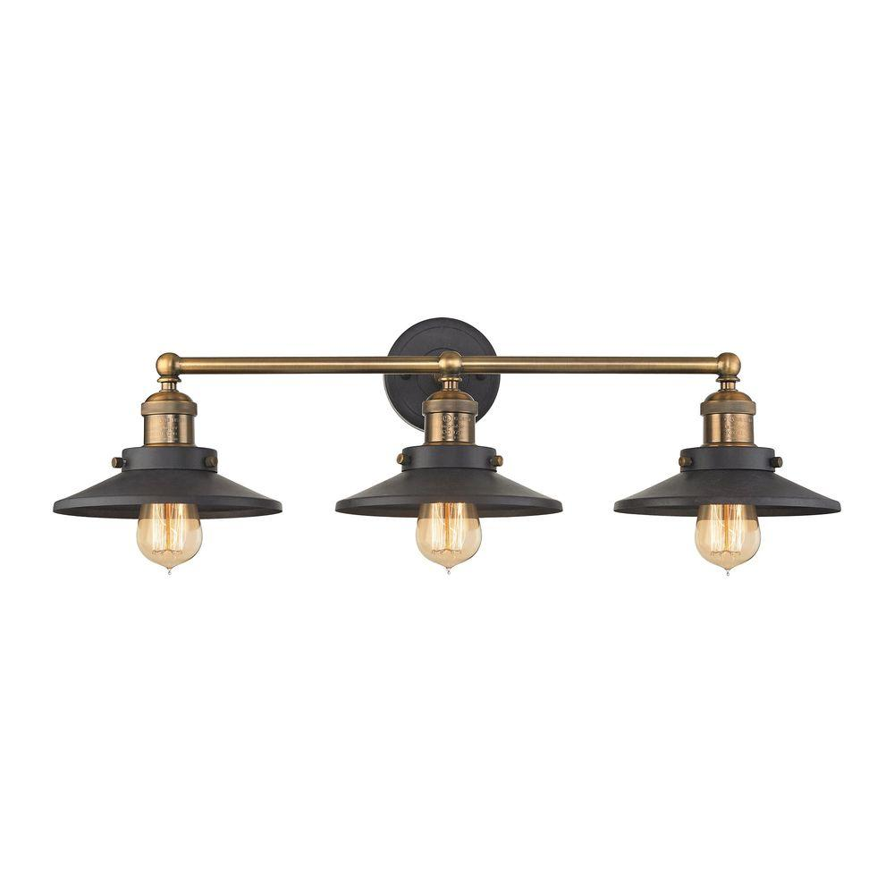 Titan Lighting English Pub 3-Light Tarnished Graphite and Antique Brass Vanity  Light - Titan Lighting English Pub 3-Light Tarnished Graphite And Antique