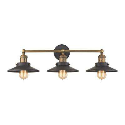 English Pub 3-Light Tarnished Graphite and Antique Brass Vanity Light