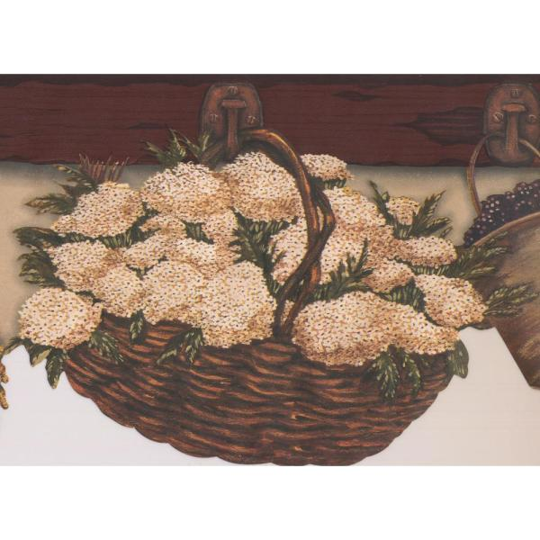 Super Brown Baskets Flowers Hanging On Kitchen Wall Hooks Country Prepasted Wallpaper Border Interior Design Ideas Clesiryabchikinfo