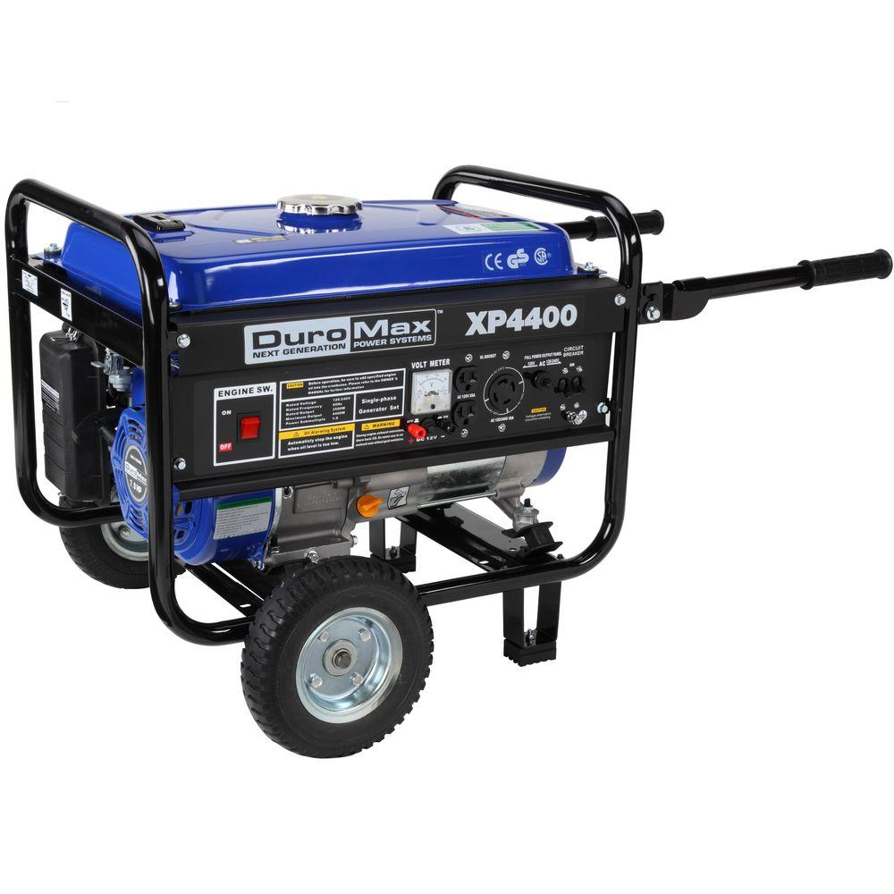 Duromax 4,400/3,500-Watt Gasoline Powered Manual Start Portable Generator with Wheel Kit - CARB Approved