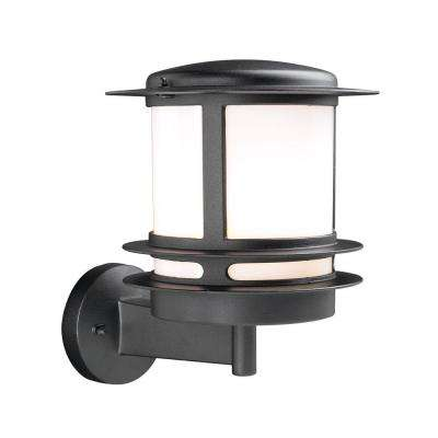 1-Light Outdoor Black Wall Sconce with Opal Glass