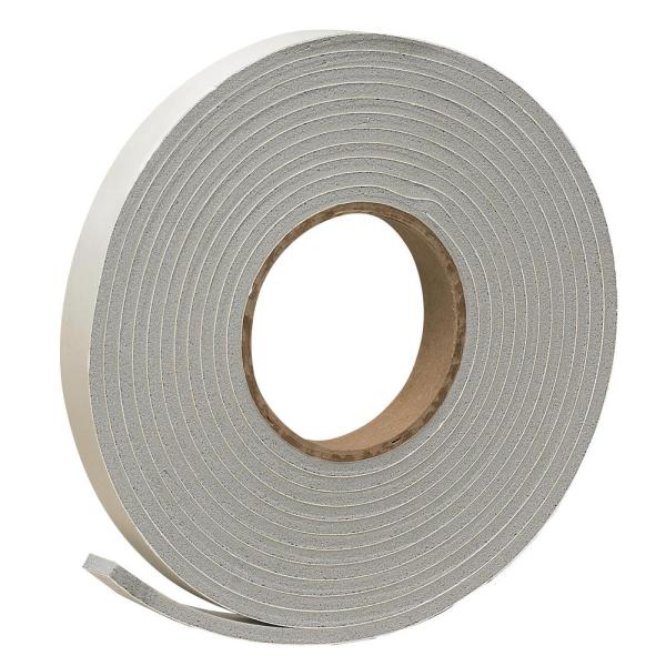 3/4 in. x 3/16 in. 17 ft. Grey Vinyl Foam Weather-Seal Self-Stick Tape