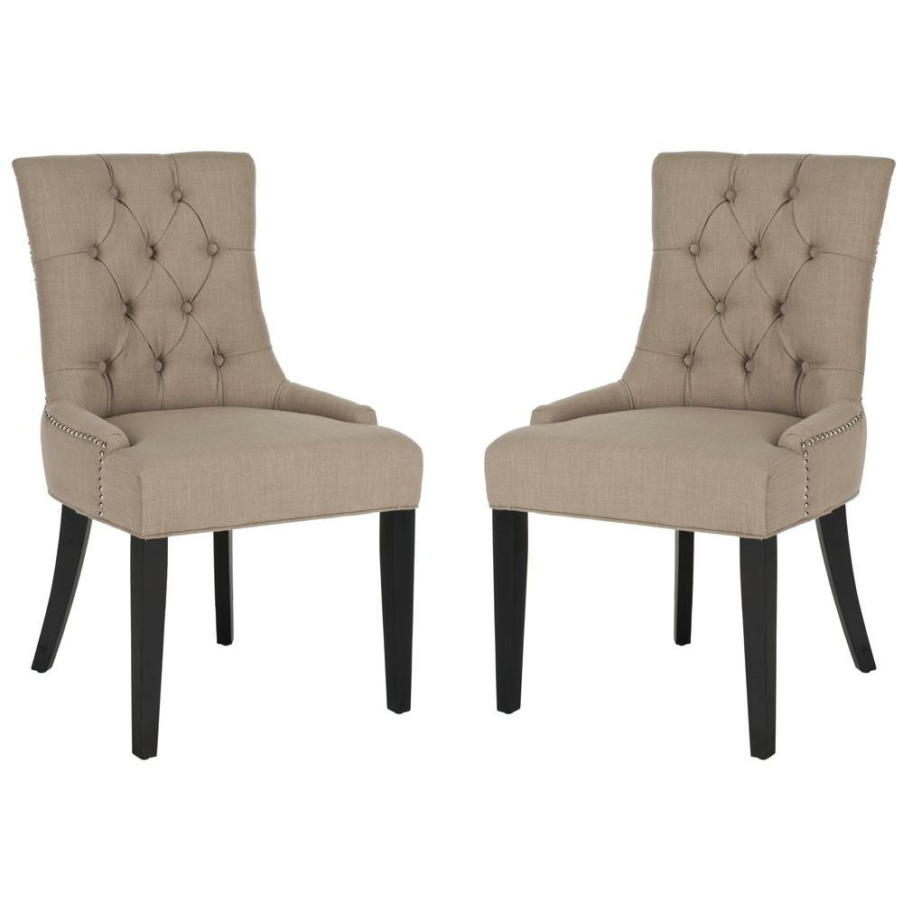 Abby True Taupe/Espresso Linen Blend Side Chair (Set of 2)