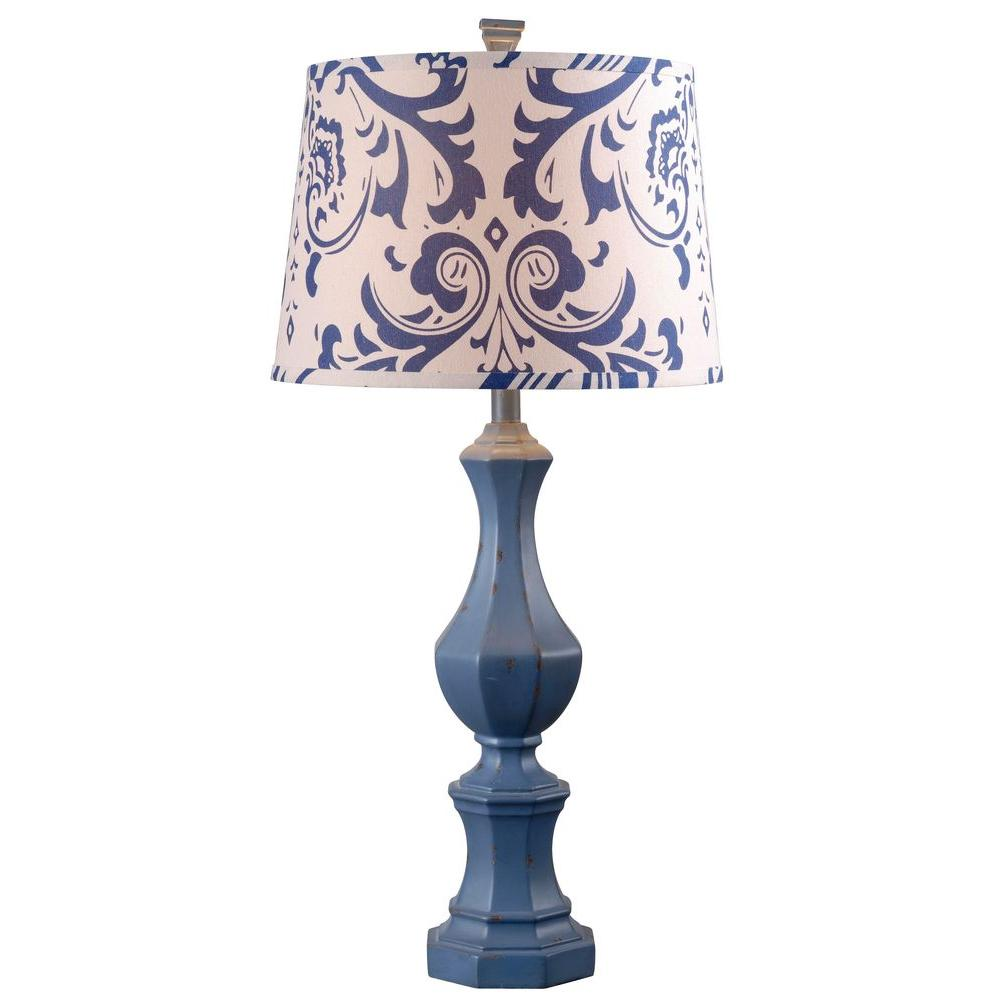 Gianni 32 in. Distressed Navy Table Lamp