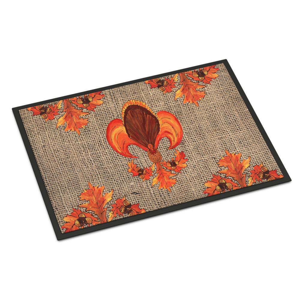 Caroline's Treasures 18 in. x 27 in. Indoor/Outdoor Thanksgiving Turkey Fleur de lis Door Mat
