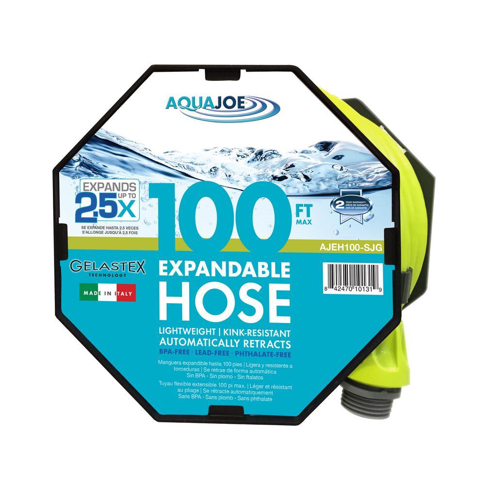 Aqua Joe 3/4 in. x 100 ft. Expandable Lightweight Kink-Free Hose, Lead-free, BPA-free