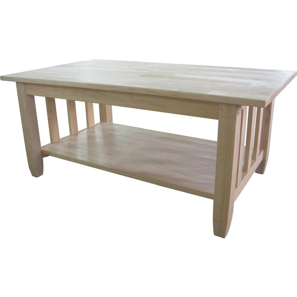 International Concepts Unfinished Solid Wood Mission Coffee Table Bj6tc The Home Depot