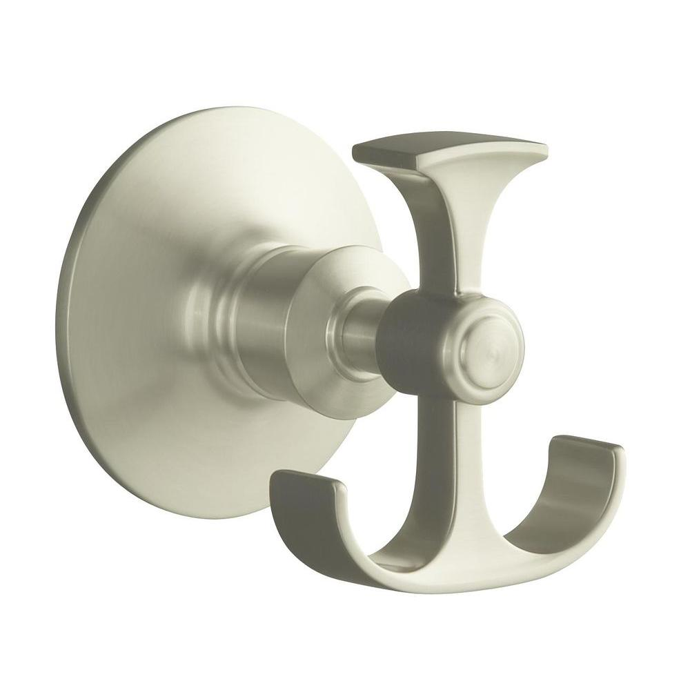 KOHLER Archer Double Robe Hook in Vibrant Brushed Nickel