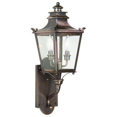 Dorchester 2-Light English Bronze Outdoor Wall Mount Lantern