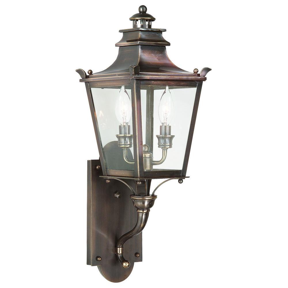 Troy Lighting Dorchester 2 Light English Bronze Outdoor Wall Lantern Sconce