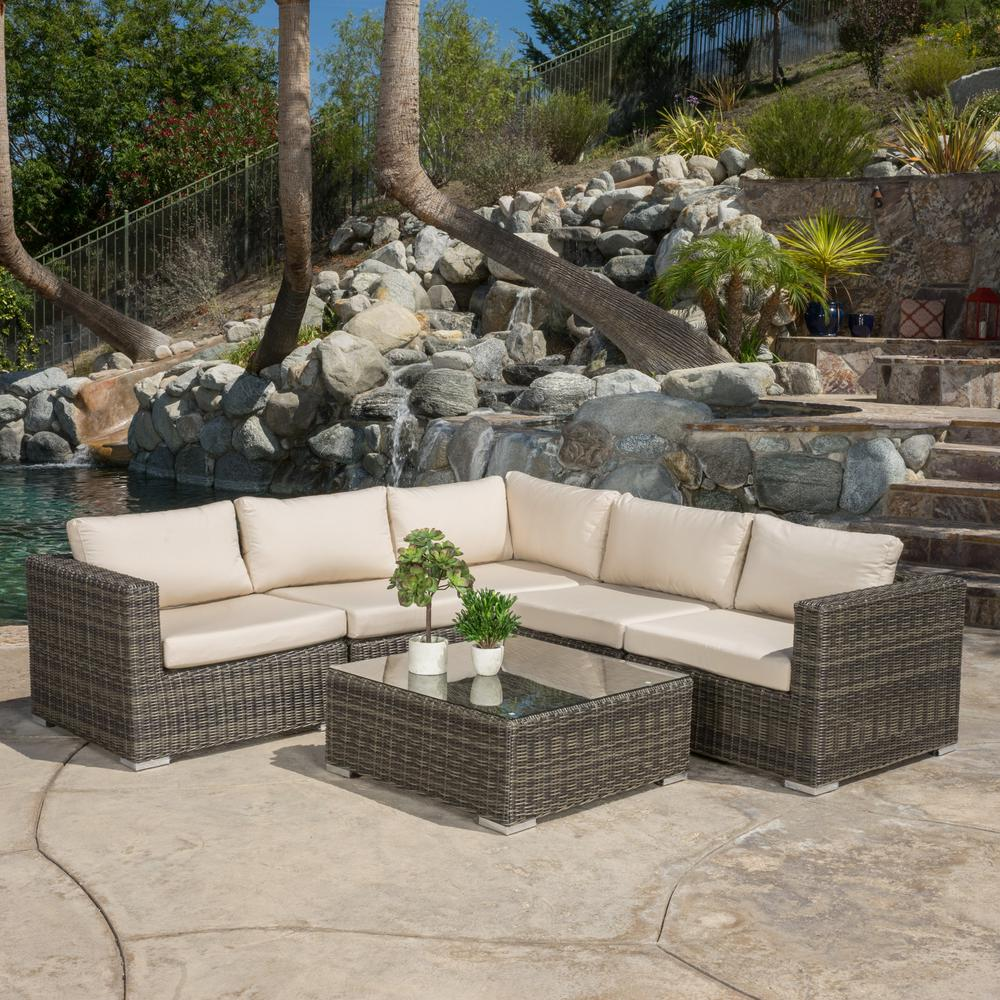 Rosa Grey Wicker Sectional Tan Cushions