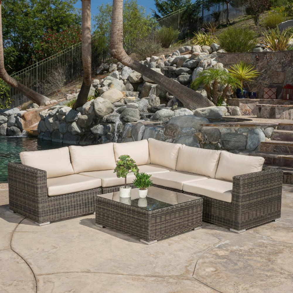 Rosa Grey Wicker Sectional Tan Cushions