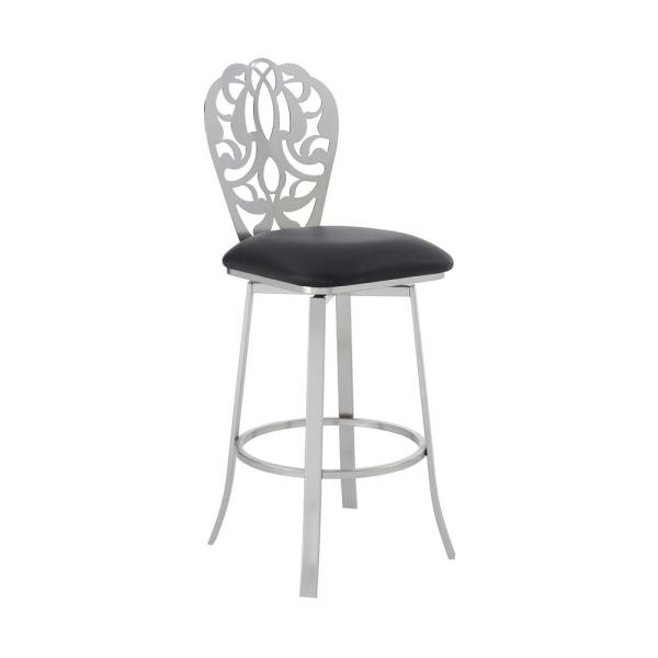 Aletris Contemporary 26 in. Counter Height in Brushed Stainless Steel Finish and Black Faux Leather Barstool
