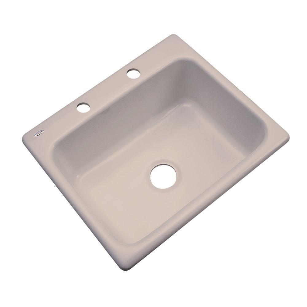 Inverness Drop-In Acrylic 25 in. 2-Hole Single Bowl Kitchen Sink in