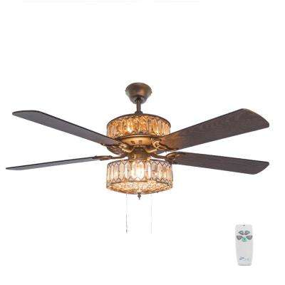 52 in. Silver Ceiling Fan with Geometric Diamond Shaped Double-Layered Crystal Shade