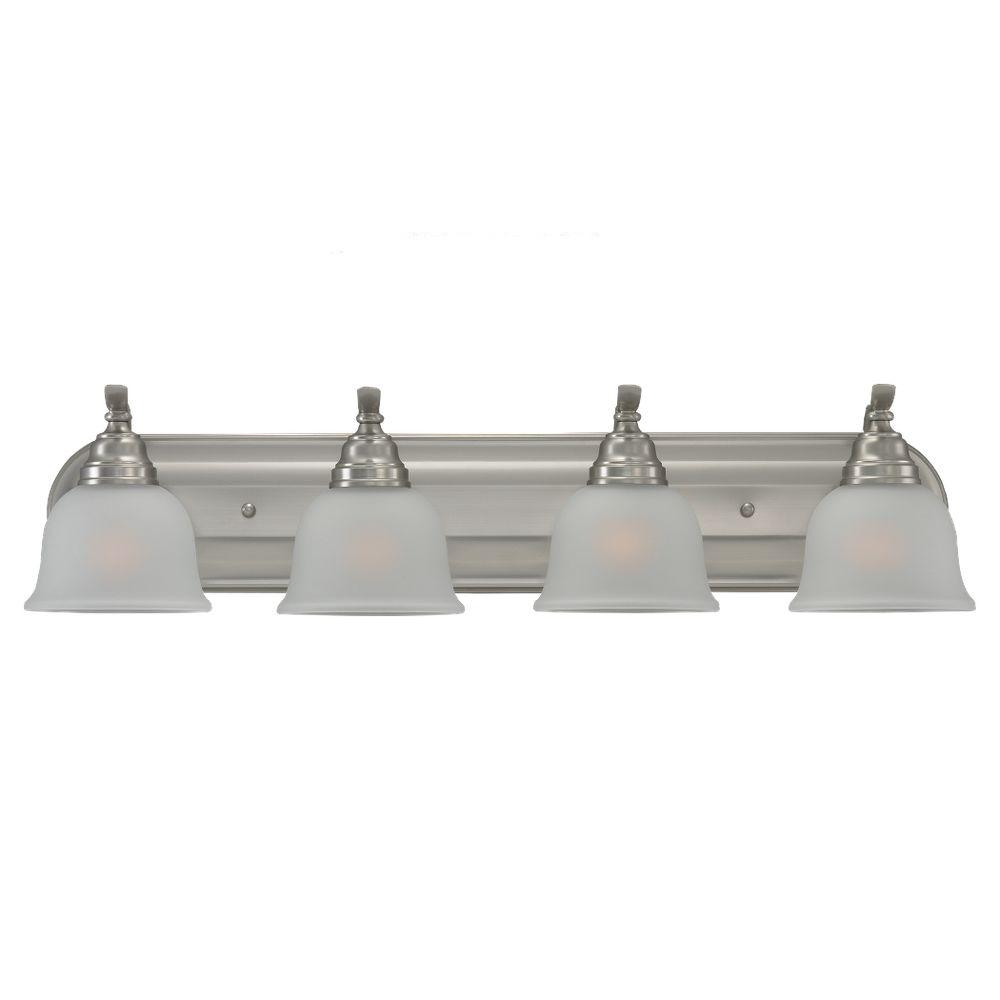Polished Nickel Bathroom Vanity Light: Volume Lighting 4-Light Brushed Nickel Bath And Vanity