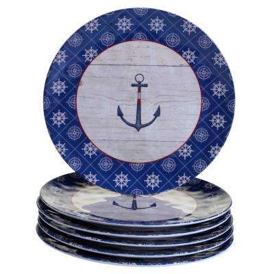 Nautique 6-Piece Blue Dinner Plate Set