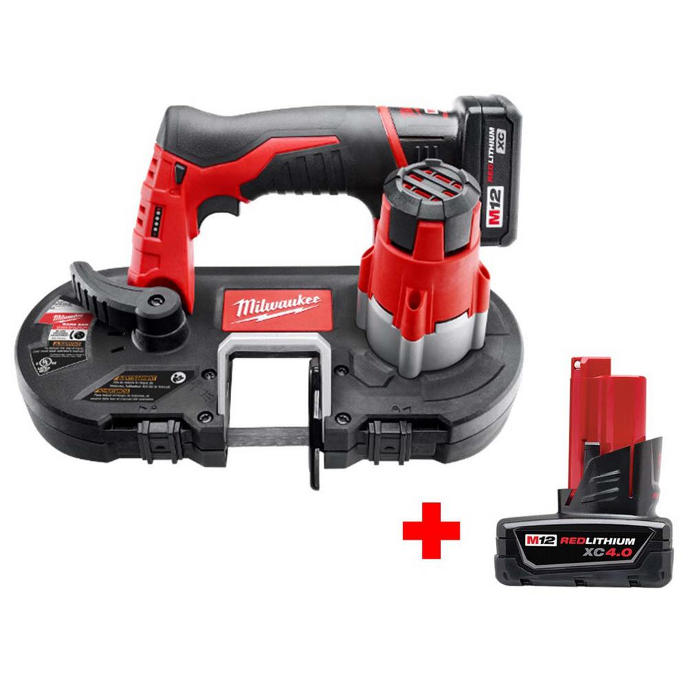 Milwaukee M12 12-Volt Lithium-Ion Cordless Sub-Compact Band Saw Kit with Free M12 4.0Ah Extra Capacity Battery