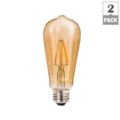 60W Equivalent Amber ST64 Dimmable Shatter-Resistant LED Light Bulb (2-Pack)
