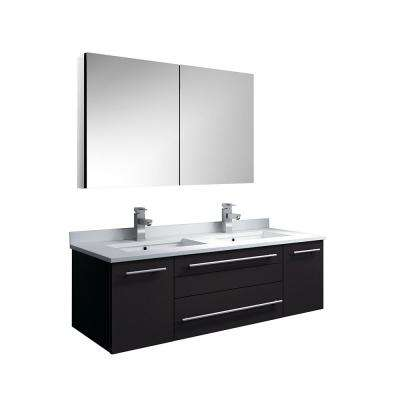 Lucera 48 in. W Wall Hung Vanity in Espresso with Quartz Double Sink Vanity Top in White, White Basins, Medicine Cabinet