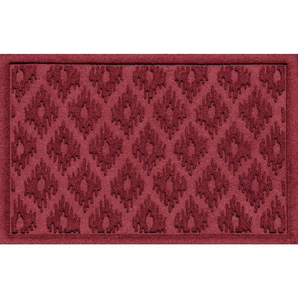 Aqua Shield Ikat Red Black 24 in. x 36 in. Polypropylene Door Mat