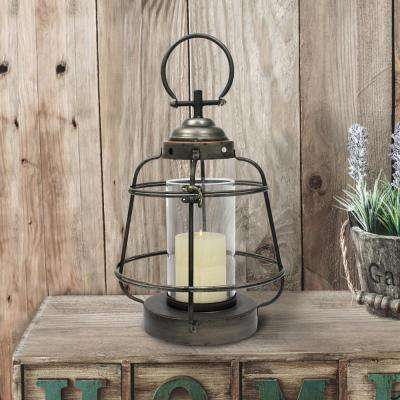 Silver Candle Operated Metal Lantern