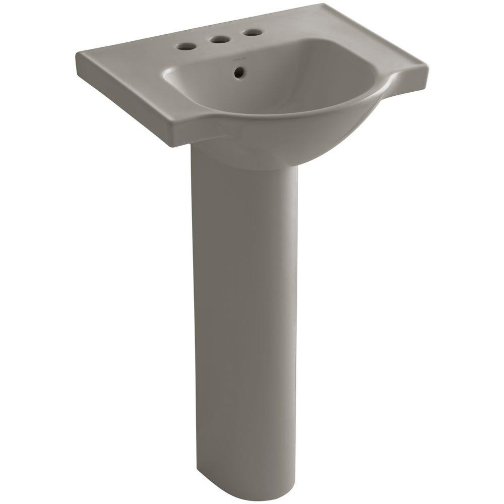 KOHLER Veer 21 in. Vitreous China Pedestal Combo Bathroom Sink in Cashmere with Overflow Drain