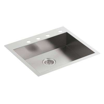 vault dual mount stainless steel 25 in 4 hole single bowl kitchen sink - Home Depot Kitchen Sinks