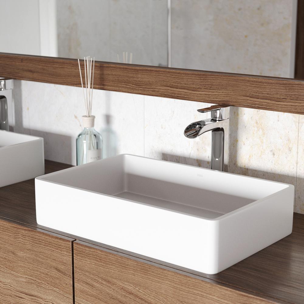 Vigo magnolia matte stone vessel sink in white with niko - Bathroom vanity with vessel sink sale ...